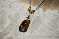 Large Beaded Amber Pendant