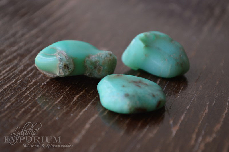 chrysoprase tumbled stones - crystals stones spiritual new age pagan wicca witchcraft supplies Lylliths Emporium Australia