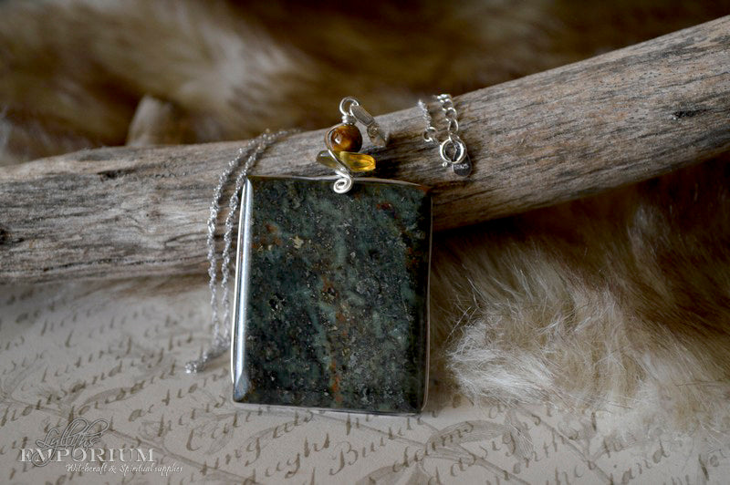 Jade pendant - Large Square with SS Chain