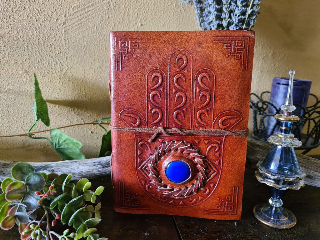 Leather Journal - Hamsa Hand with Stone