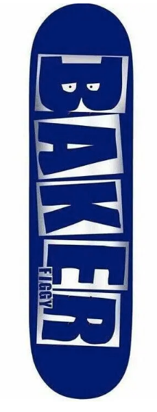 Baker Skateboards Figgy Brand Name Blue / Foil Skateboard Deck - 8.5""