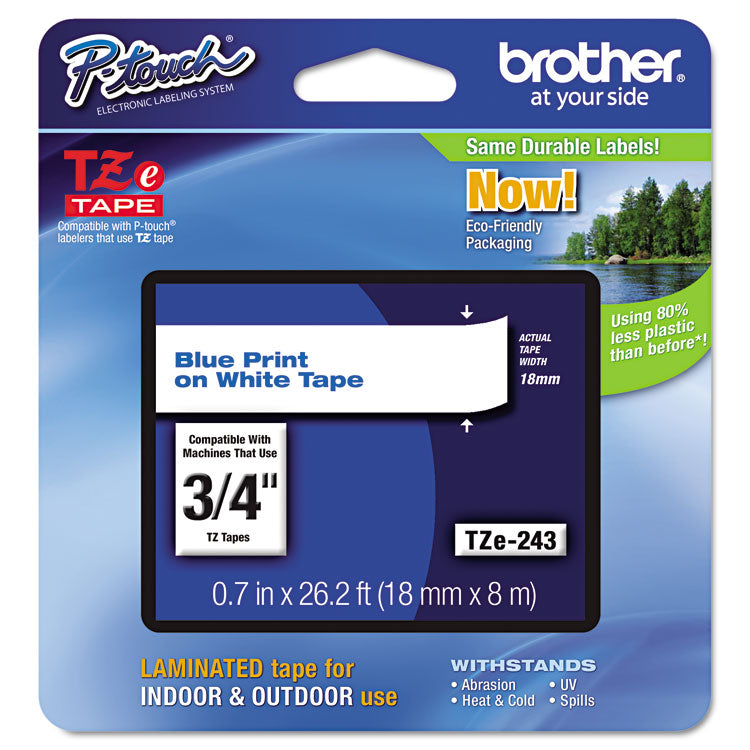 Brother TZE-243 Labeling Tape, 3/4w, Blue on White