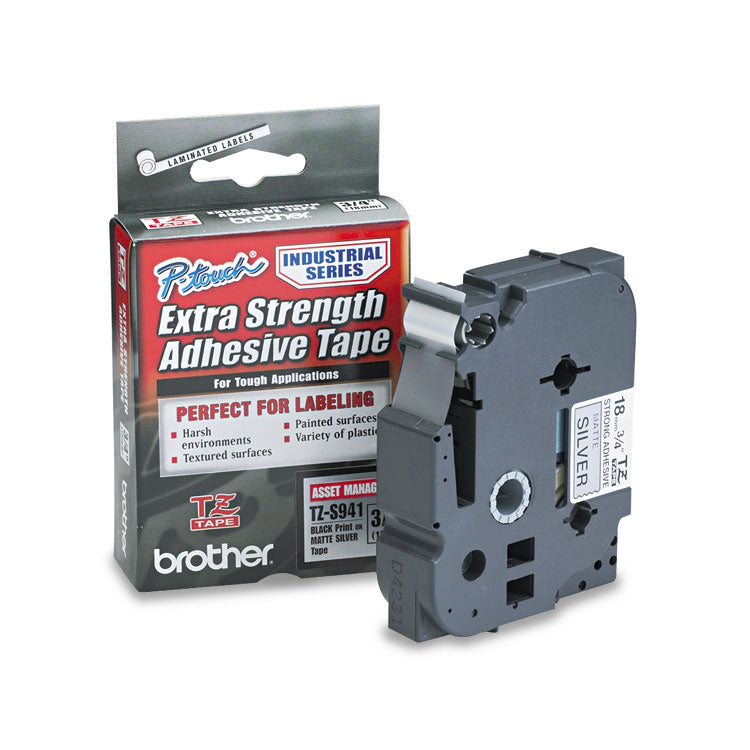 Brother TZE-S941 Labeling Tape, 3/4w, Black on Matte Silver