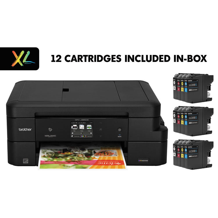Brother Work Smart MFC-J985DWXL Copy/Fax/Print/Scan, 12 INKvestment Cartridges, Brother MFCJ985DWXL