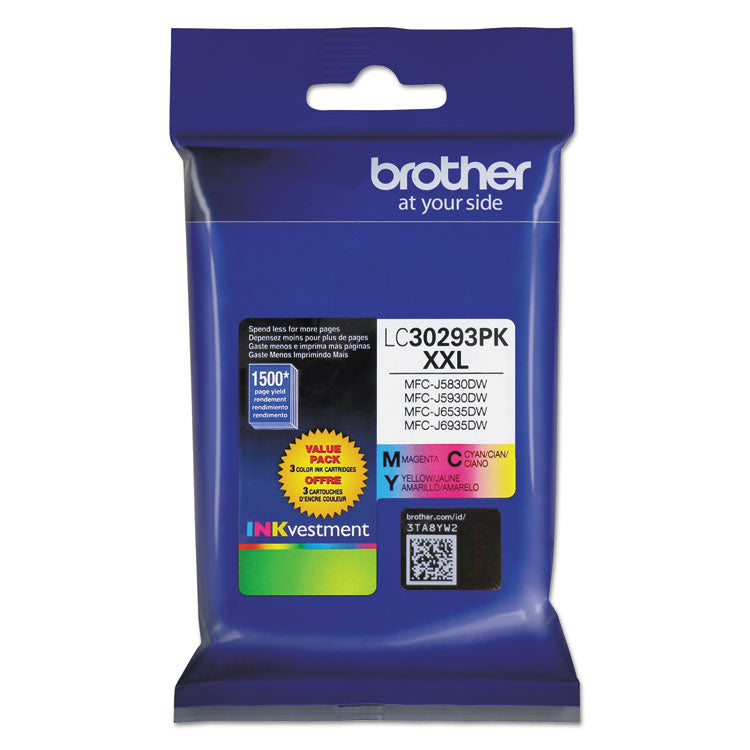 Brother LC3029 Cyan, Magenta, Yellow, Standard Yield, 3/PK Ink Cartridge, Brother LC30293PK