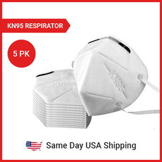 KN95 Protective Face Mask - White - Regular Size - 5PK - SAME DAY USA SHIPPING