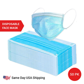 3 Ply Disposable Face Mask - 50 Pack Earloop Face Mask - Same Day Shipping