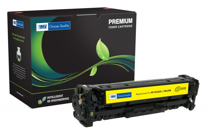 MSE Remanufactured Extended Yield Yellow Toner Cartridge for HP CC532A (HP 304A)