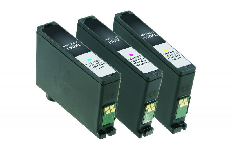CIG Non-OEM New Cyan, Magenta, Yellow High Yield Ink Cartridges for Lexmark 150XL 3-Pack