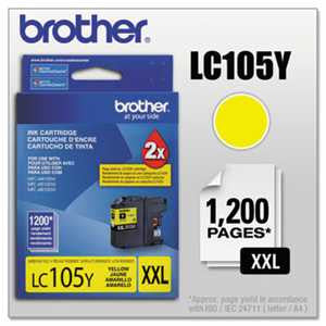 Brother LC105Y LC105Y Innobella Super High-Yield Ink, Yellow