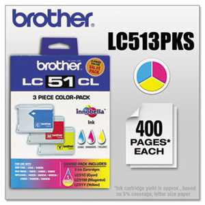 Brother LC513PKS LC513PKS Innobella Ink, Cyan/Magenta/Yellow, 3/PK