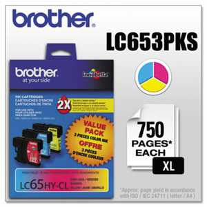 Brother LC653PKS LC653PKS Innobella High-Yield Ink, Cyan/Magenta/Yellow, 3/PK