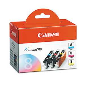 Canon 0621B016 0621B016 (CLI-8) ChromaLife100+ Ink, Cyan/Magenta/Yellow, 3/PK