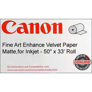"Canon® 0826V681 Fine Art Enhanced Velvet Paper, 50 "" x 33 feet, Roll"