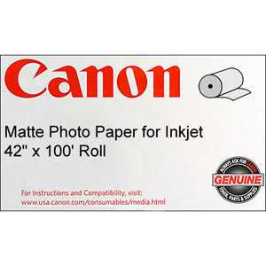"Canon® 0849V356 Matte Coated Paper, 90 gsm, 42 "" x 100 feet, Roll"