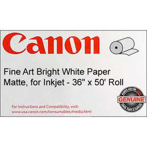 "Canon® 0850V069 Fine Art Bright White Paper, 230 gsm, 36 "" x 50 feet, Roll"