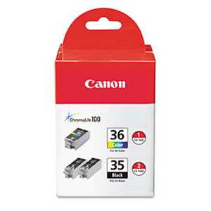 Canon 1509B007 1509B007 (CLI-36) Ink, Black/Tri-Color, 3/PK