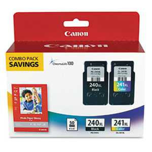 Canon 5206B005 5206B005 (PG-240XL/CL-241XL) High-Yield Ink & Paper Combo Pack, Black/Tri-Color