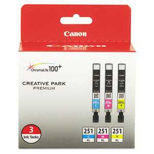Canon 6449B009 6449B009 (CLI-251XL) ChromaLife100+ High-Yield Ink, Cyan/Magenta/Yellow, 3/PK