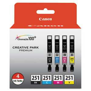 Canon 6513B004 6513B004 (CLI-251) ChromaLife100+ Ink, Black/Cyan/Magenta/Yellow, 4/PK