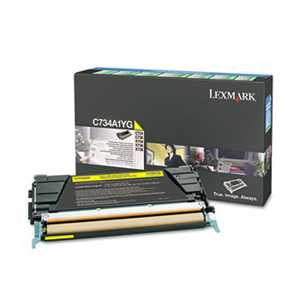 Lexmark C734A1YG C734A1YG Toner, Return Program, 6000 Page-Yield, Yellow