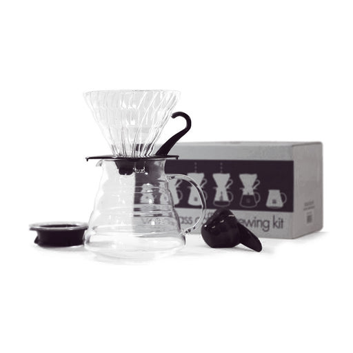 Hario V60 Glass Coffee Brewing Kit - Clear Black