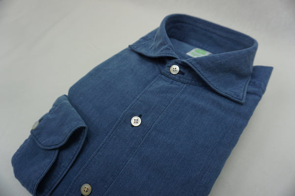 Finamore blue washed cotton