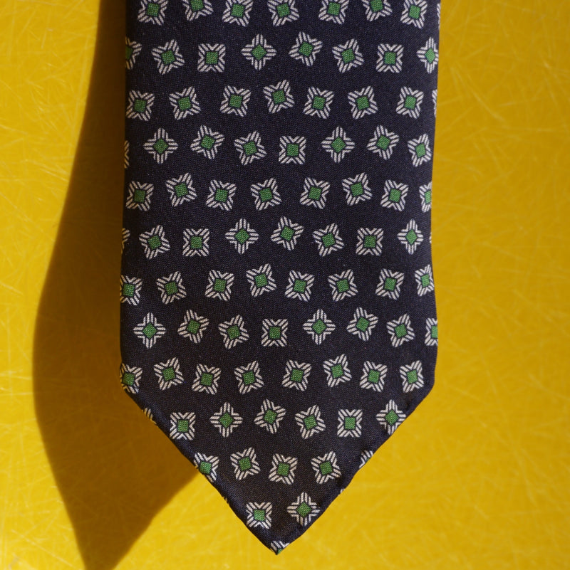 Drake's blue with green flowers tie
