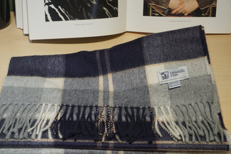 Johnstons of Elgin Blue/Pearl Tartan Scarf