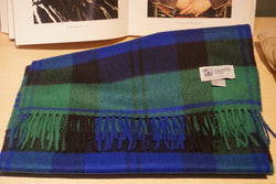 Johnstons of Elgin Green/Blue Tartan Scarf