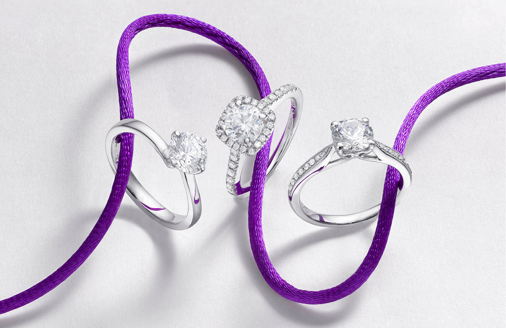 three diamond engagement rings
