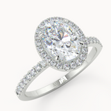 Oval Halo Moissanite Engagement Ring