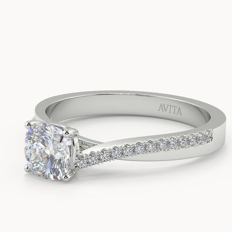 Coco Cushion Diamond Shoulder Moissanite - Avita Jewellery