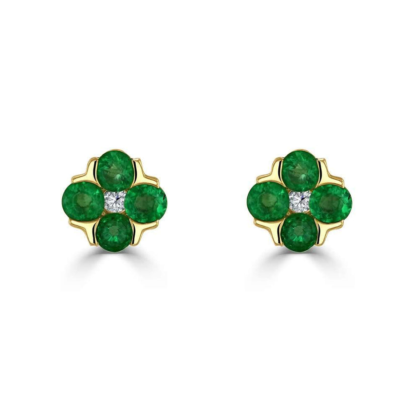 Posy Emerald & Diamond Stud Earrings - Avita Jewellery