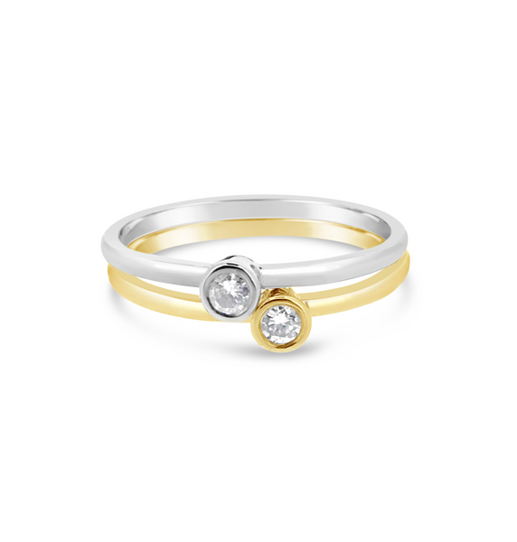 Yellow & White Gold Diamond Promise Rings