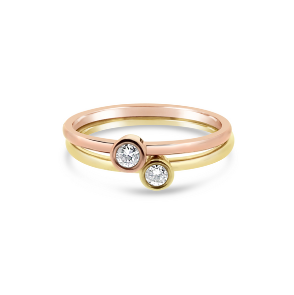 Yellow & Rose Gold Diamond Promise Rings