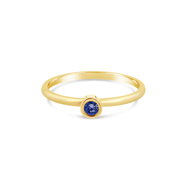 Promise gold blue sapphire stacking ring