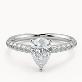 Silvie Pear Diamond Shoulder Moissanite - Avita Jewellery