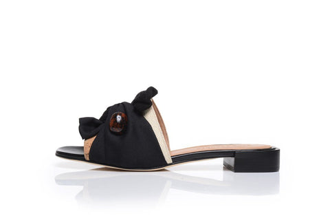 KNOTTED SLIP-ONS, BLACK