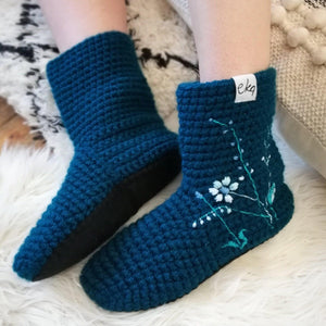 Embroidered Slipper Socks - Adult