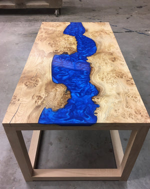English Oak and Resin River Coffee Table