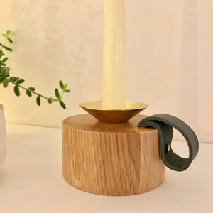 Oak and Brass Candlestick