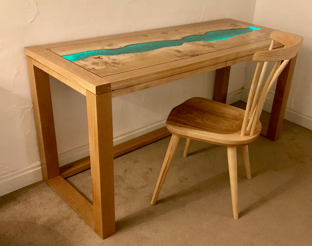 English Oak and Resin River Console Desk