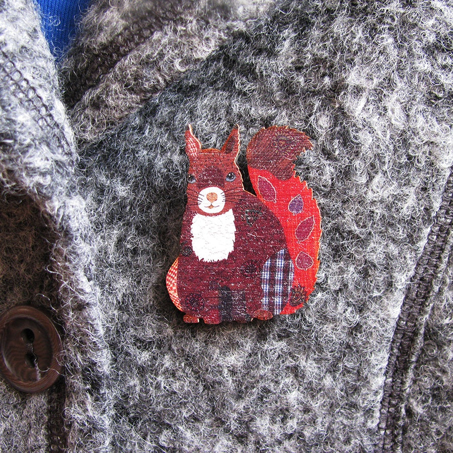Patchwork Squirrel Brooch