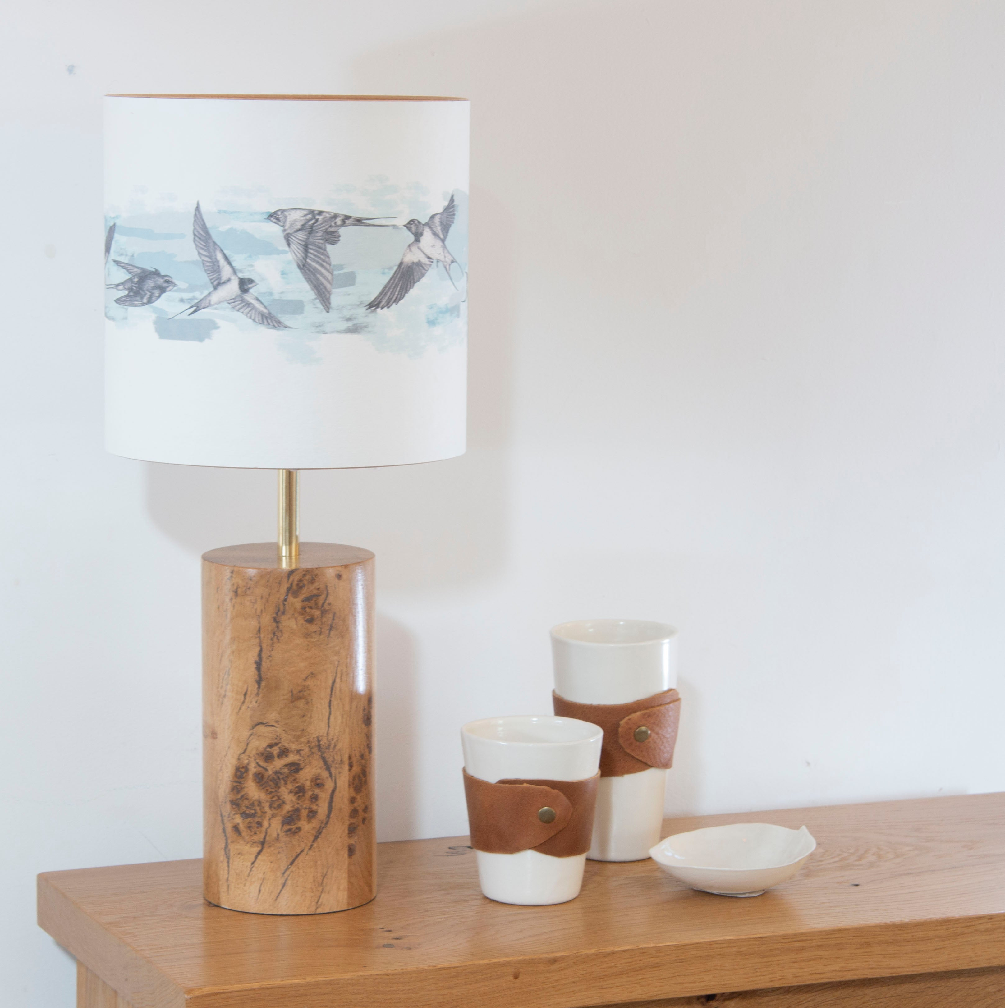English Oak Cylindrical Lamp Base