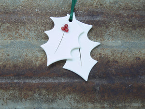 Porcelain Holly Decoration