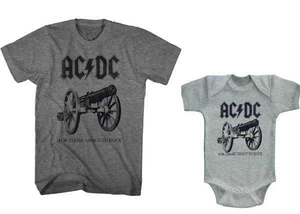 AC//DC Infant Bodysuit For Those About To Rock Heather Romper