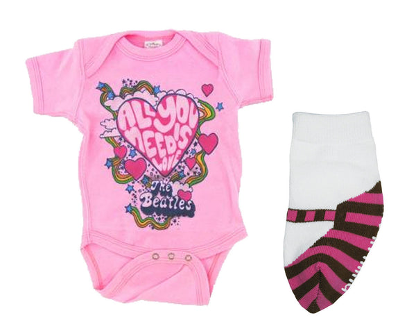 613ce4fc3 Beatles Need Love One Piece and Pink Striped Mary Jane Socks Set