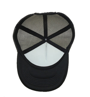 black trucker cap with sun, teepee and leaf