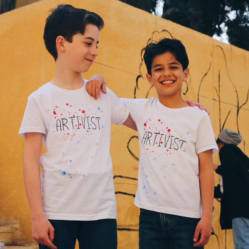 ethical and sustainable organic cotton kids tshirt with artivist